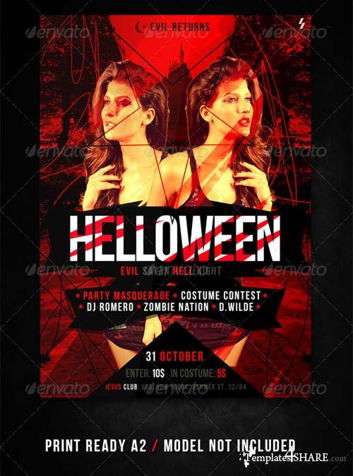 GraphicRiver Helloween Satan Party Flyer