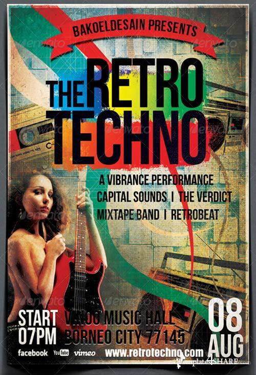 GraphicRiver The Retro Techno Music Flyer