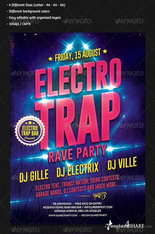 GraphicRiver Electro Trap Music Party Flyer