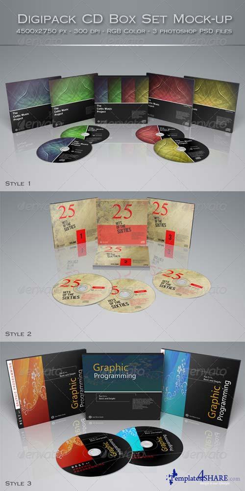 GraphicRiver Digipak CD Box Set Mock-Up