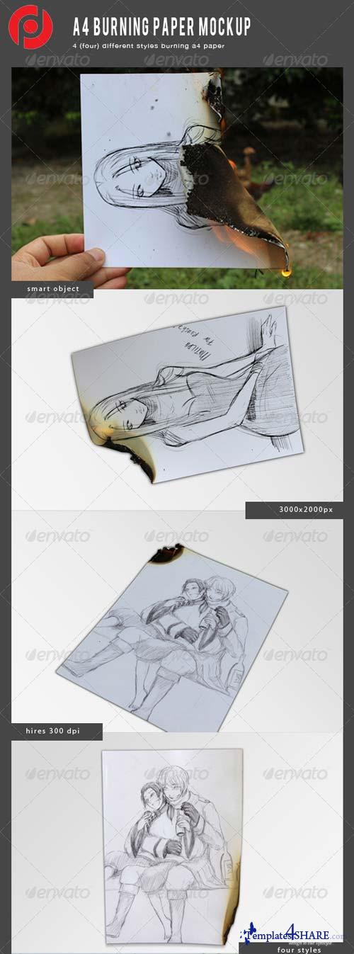 GraphicRiver A4 Burning Mockup