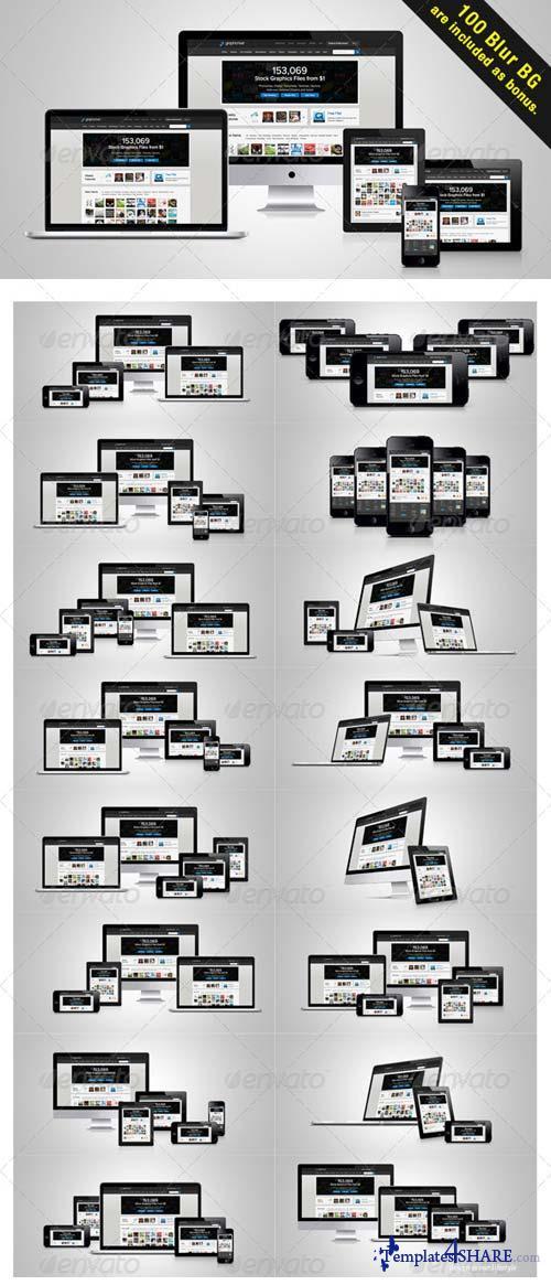 GraphicRiver Mega Responsive web layout Mockup Pack
