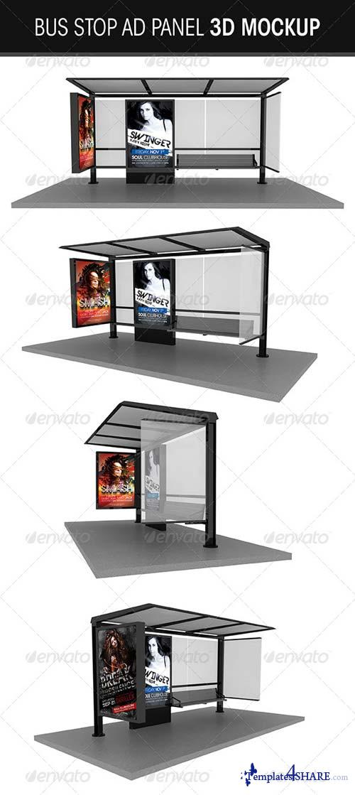 GraphicRiver Bus Stop Ad Panel 3D Mockup