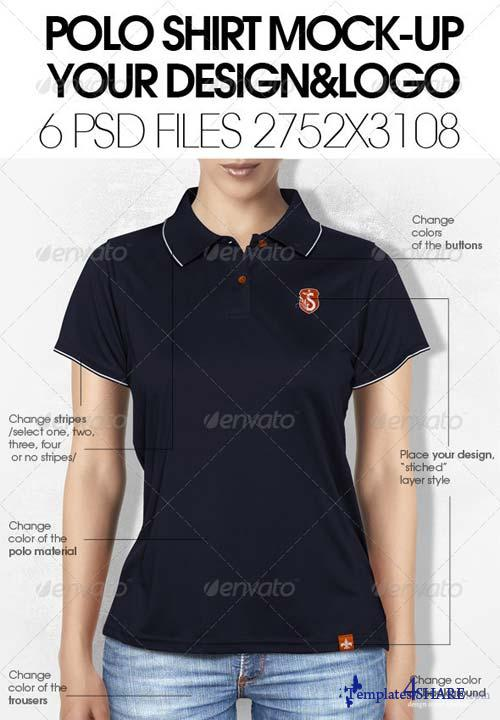 GraphicRiver Woman Polo Shirt Mock-Up