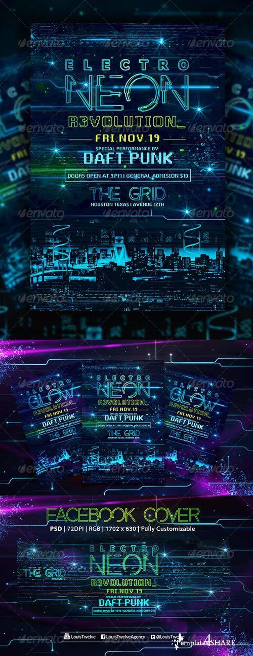 GraphicRiver Electro Neon | Flyer + Fb Cover