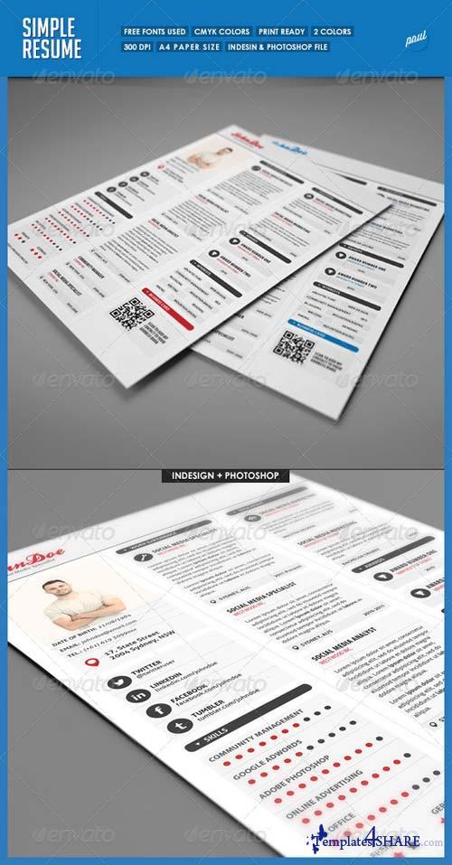 GraphicRiver Simple 3 Columns Resume