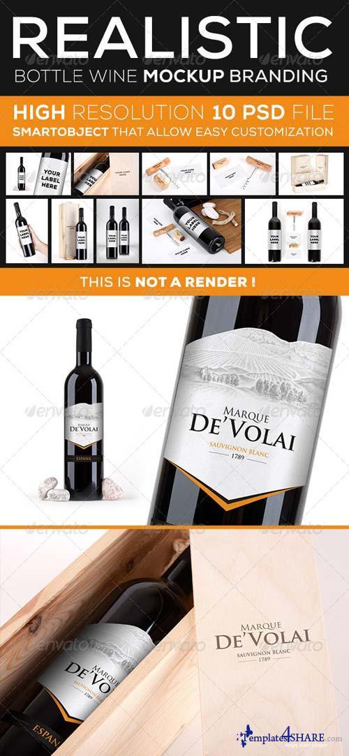 GraphicRiver Wine Bottle Branding Mock Up