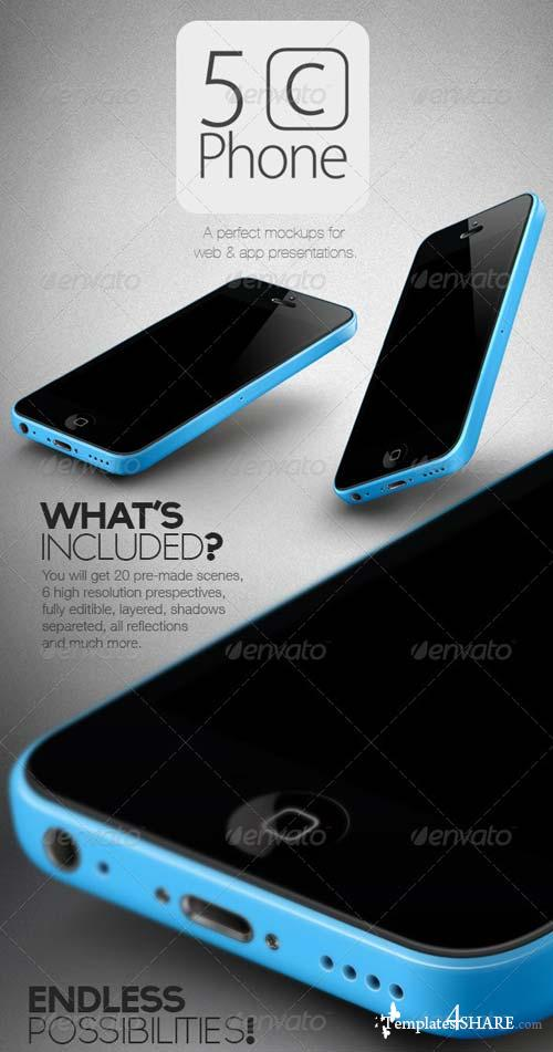 GraphicRiver New 5C Phone Mock Ups Set