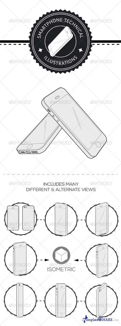 GraphicRiver Smartphone Technical Illustration Vector Pack