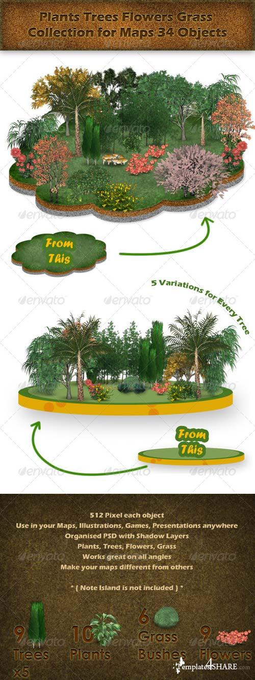 GraphicRiver Plants Trees Flowers Grass Collection for Maps