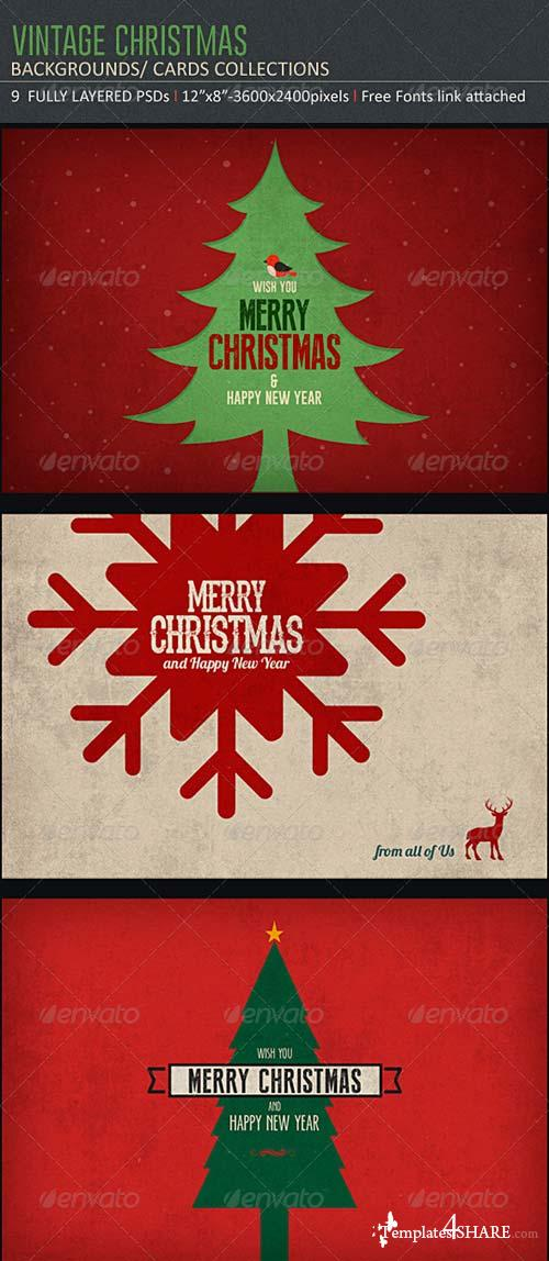 GraphicRiver Vintage Christmas Backgrounds