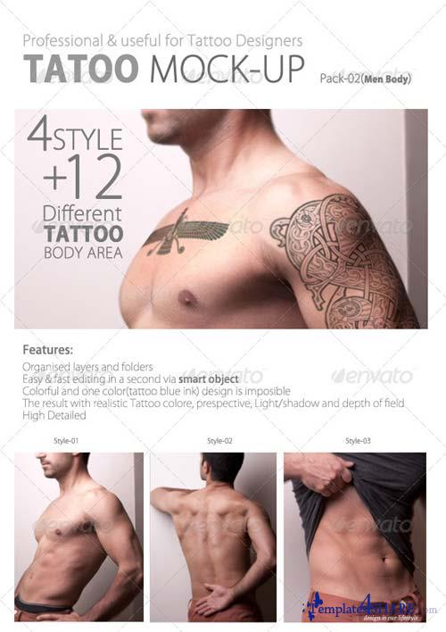 GraphicRiver Tattoo Mock up Pack02 Men Body