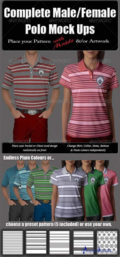 GraphicRiver Complete Male & Female Polo with Model Mock-Up