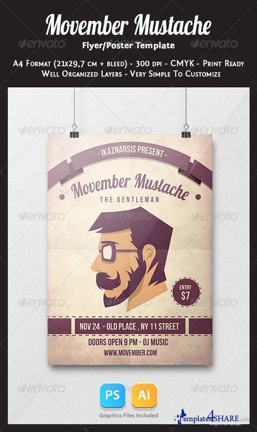 GraphicRiver Movember Mustache Flyer Template