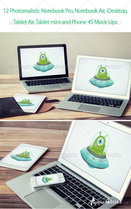 GraphicRiver 12 Photorealistic Notebook, Mobile Device Mock-Ups