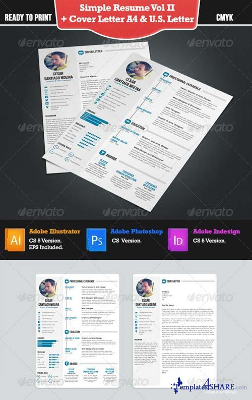 GraphicRiver Simple Resume 2 + Cover Letter. A4 and US Letter