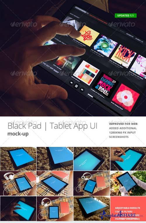 GraphicRiver Black Pad | Tablet App UI Mock-Up v3