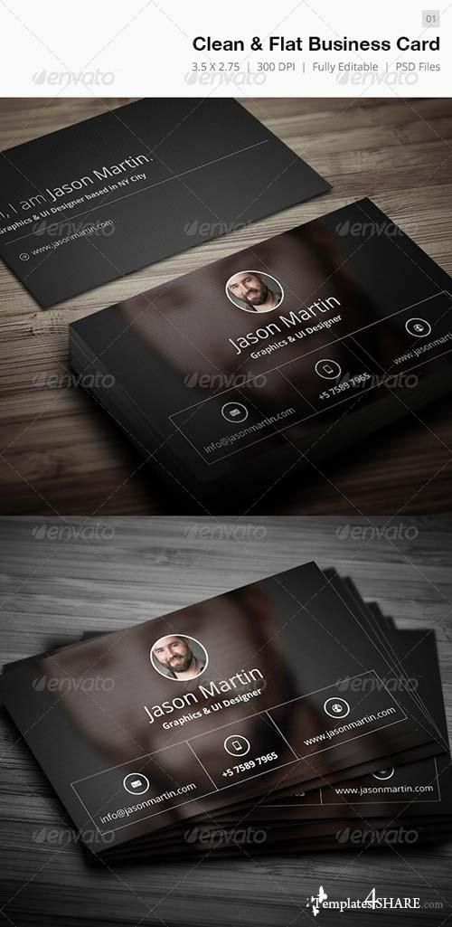 GraphicRiver Clean & Flat Business Card - 01