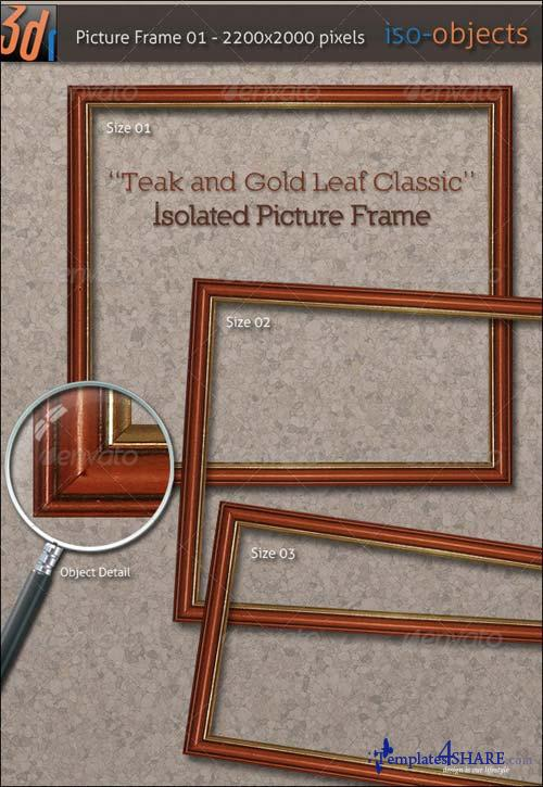 GraphicRiver HiRes Picture Frame - Teak Wood / Gold Leaf