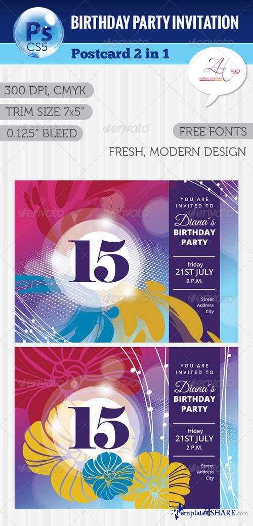 GraphicRiver Birthday Party Postcard