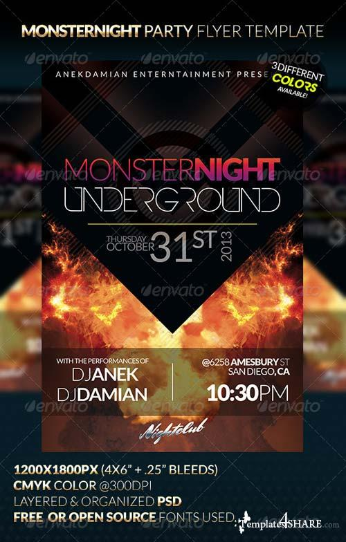 GraphicRiver MONSTERNIGHT Party Flyer Template