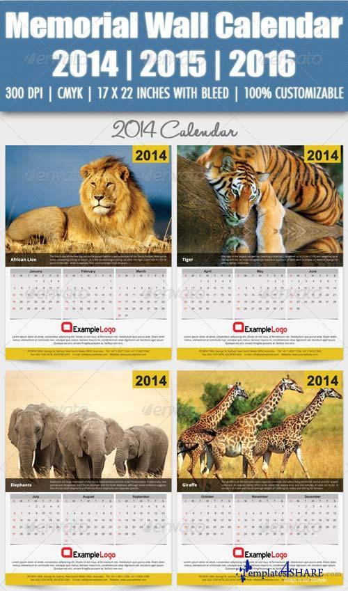GraphicRiver Memorial Wall Calendar 2014 | 2015 | 2016