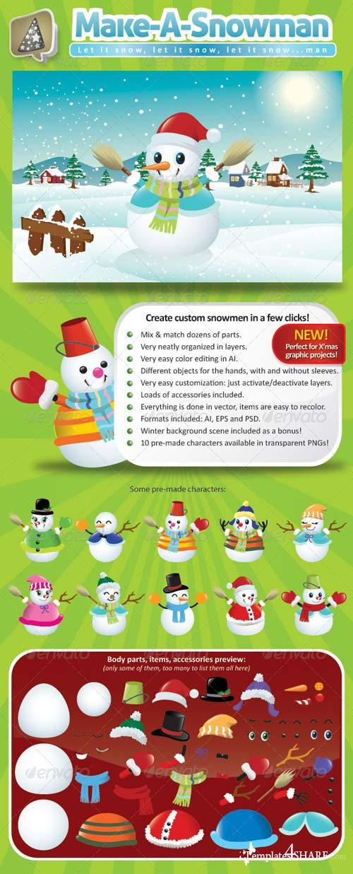 GraphicRiver Vector Snowman Creation Pack