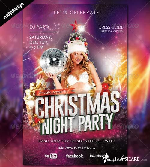 GraphicRiver Christmas New Year Night Party Flyer