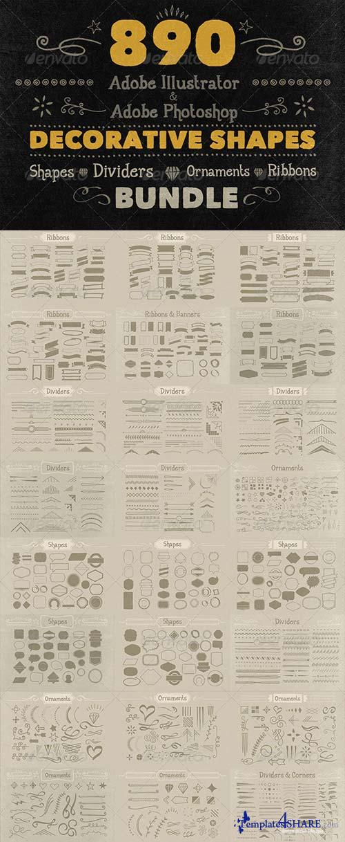 GraphicRiver 890 Handwritten Shapes - Bundle