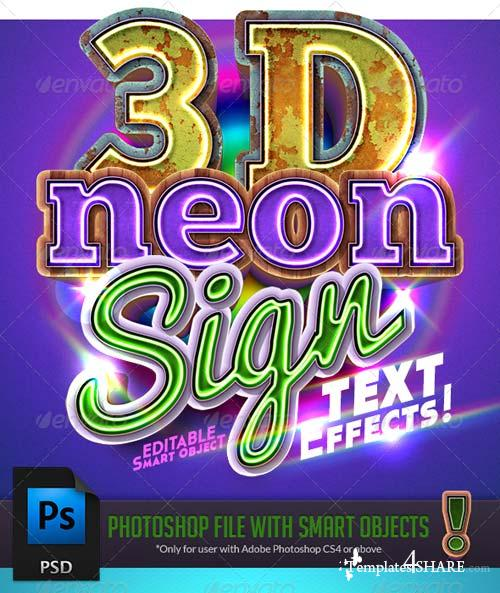 GraphicRiver 3D Neon Sign Text Effect