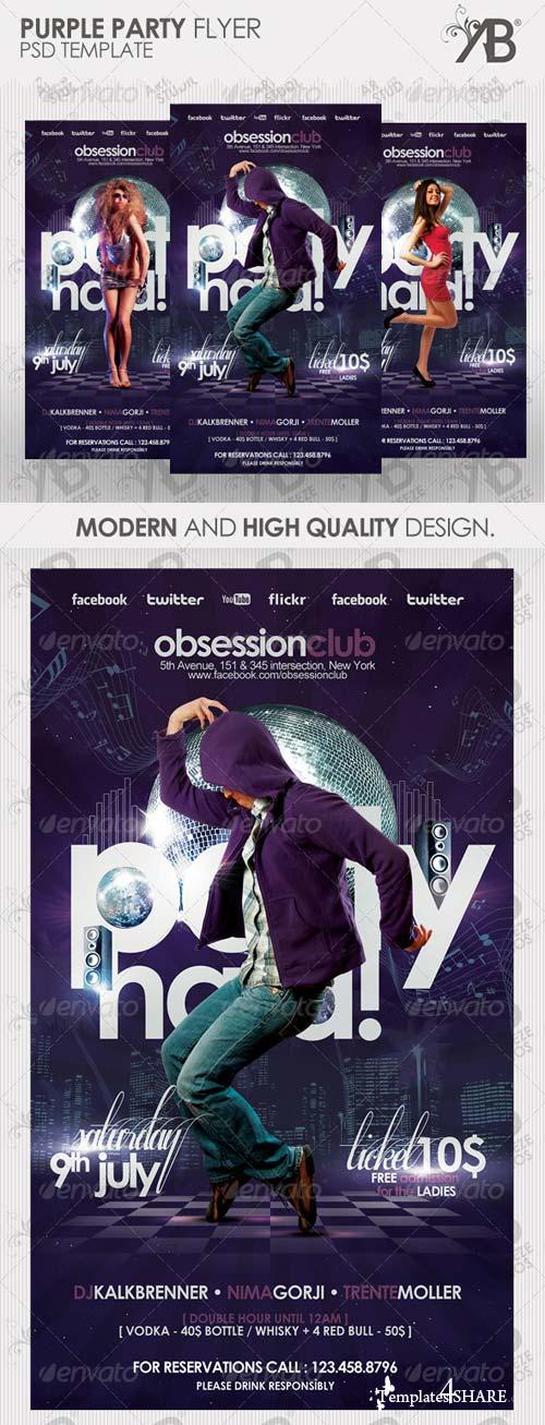 GraphicRiver Purple Dancefloor Party Flyer