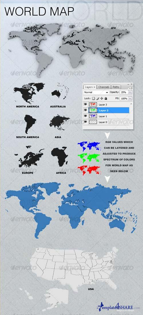GraphicRiver 3D World Map(s)