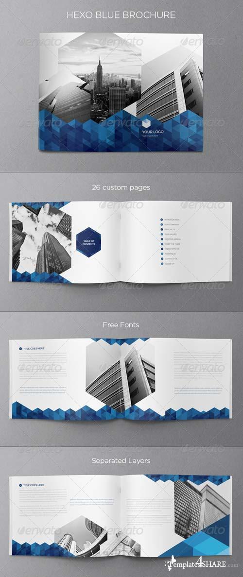 GraphicRiver Real Estate Blue Hexo Brochure