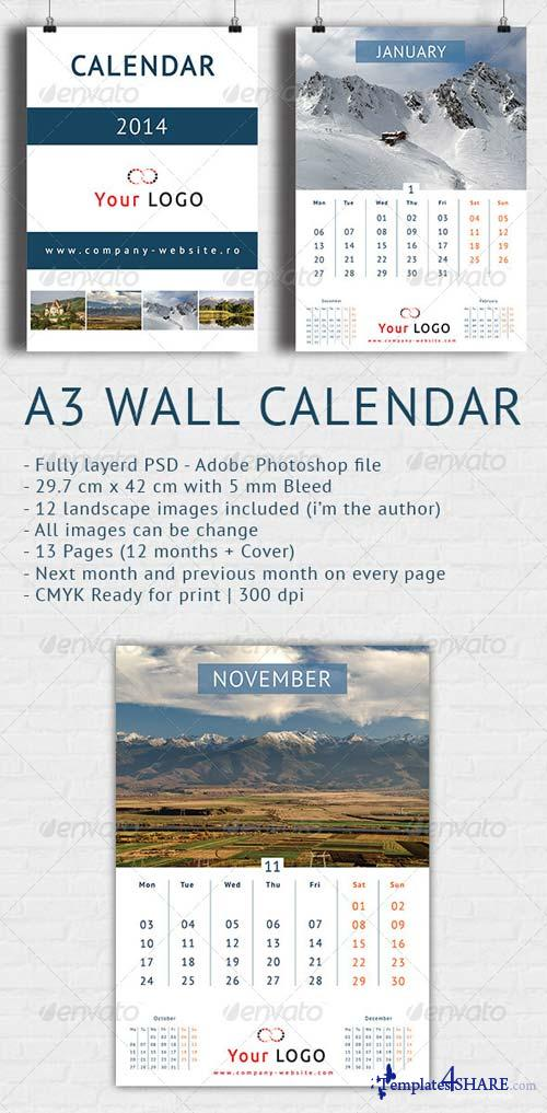 GraphicRiver Wall Calendar 2014 - A3