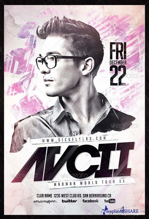 GraphicRiver Electro House Music Flyer PSD V2