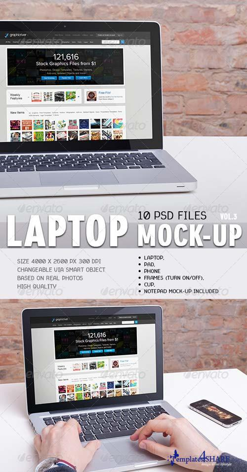 GraphicRiver 10 Laptop Mock-ups Vol.3