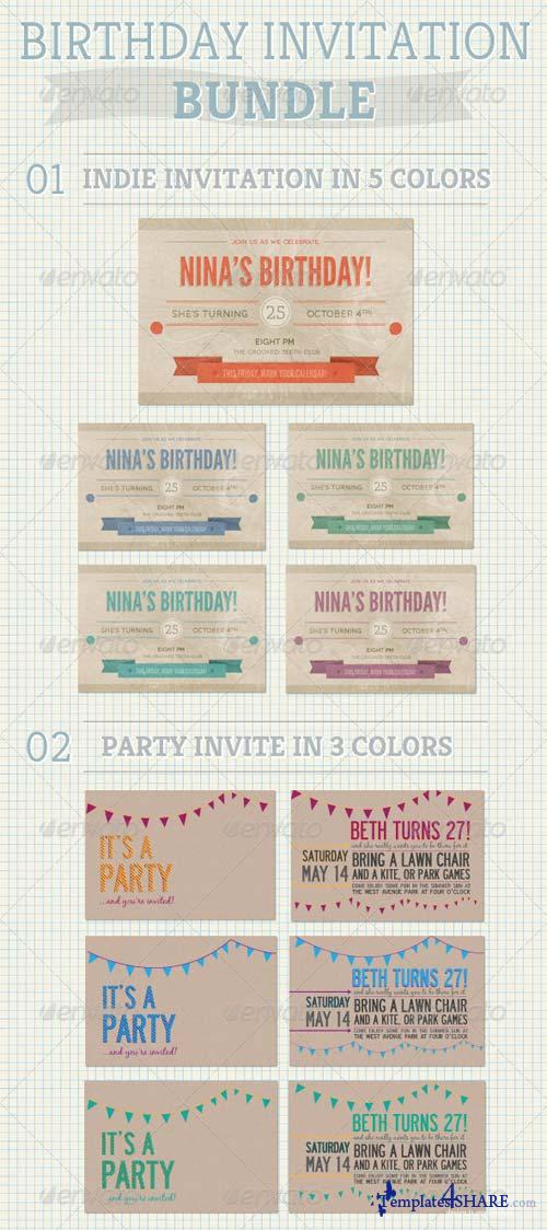 GraphicRiver Birthday Invitation Bundle