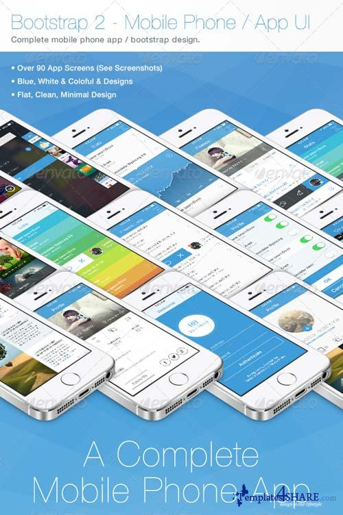 GraphicRiver Bootstrap 2 - Flat Mobile Phone - App UI