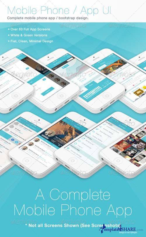 GraphicRiver Flat Phone / Mobile App Bootstrap UI