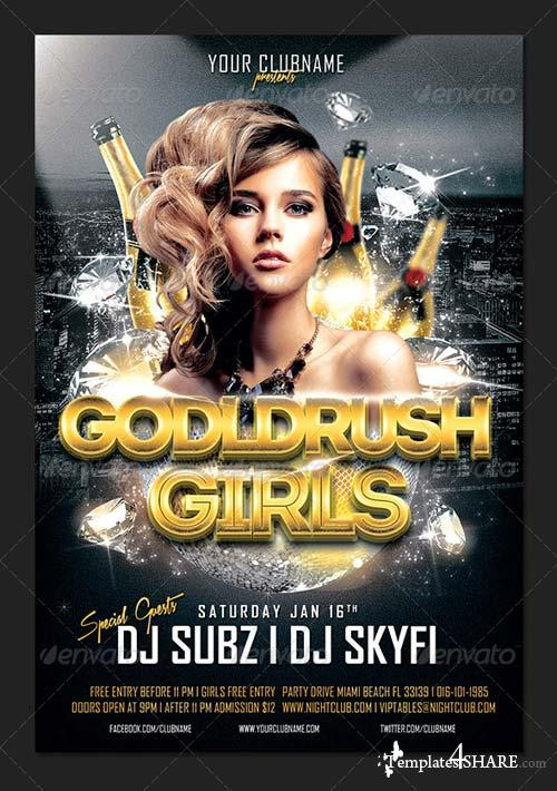 GraphicRiver Goldrush Girls Club Party Flyer Template