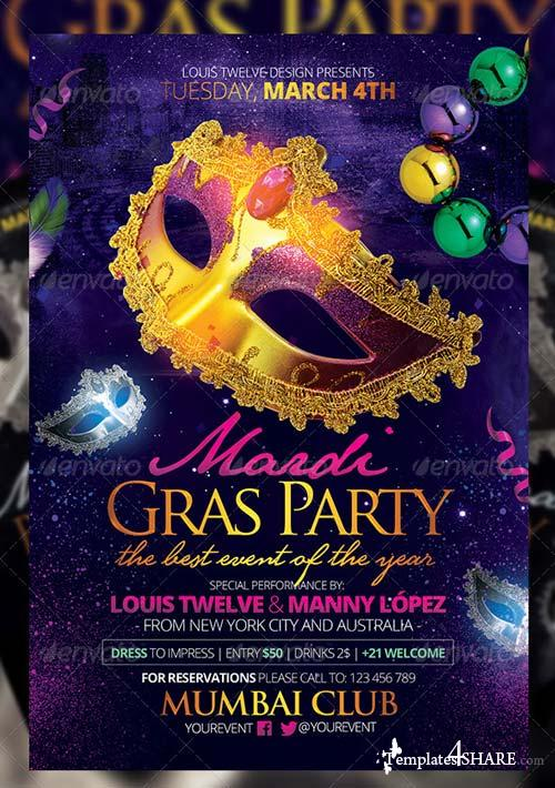 GraphicRiver Masquerade Ball / Mardi Gras Party Flyers Template
