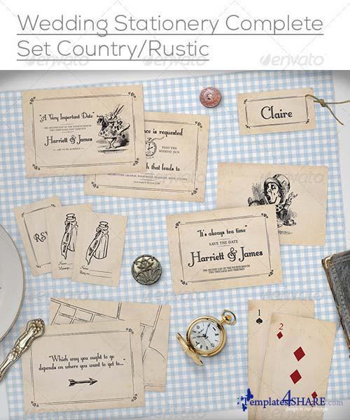 GraphicRiver Wedding Stationery Mock-Up Set Rustic/Country