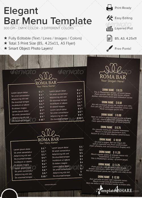 GraphicRiver Elegant Bar Menu Template