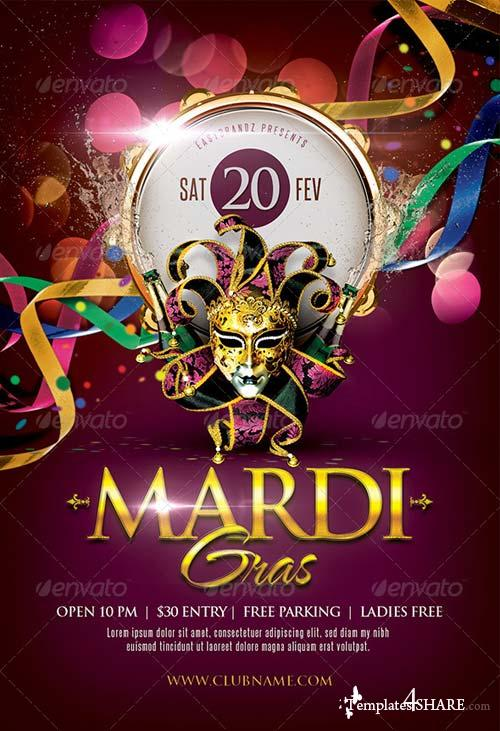 GraphicRiver Mardi Gras Flyer Template 6554563