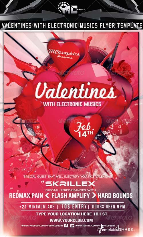 GraphicRiver Valentines With Electronic Musics Flyer Template
