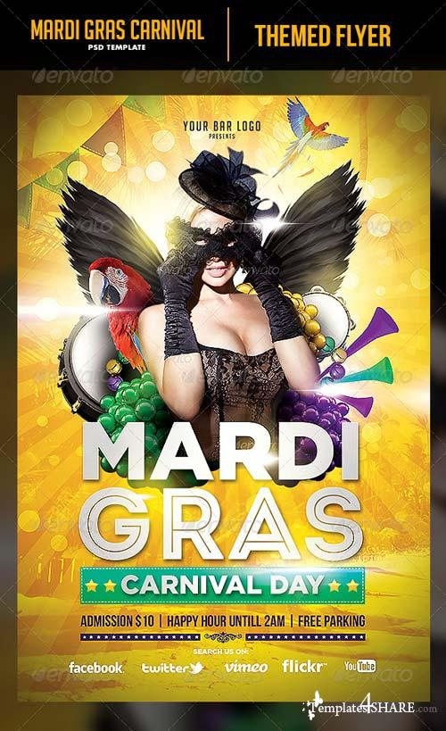 GraphicRiver Mardi Gras Flyer Template 6548335
