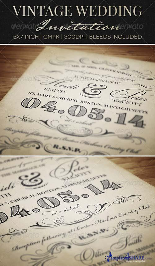 GraphicRiver Vintage Wedding Invitation