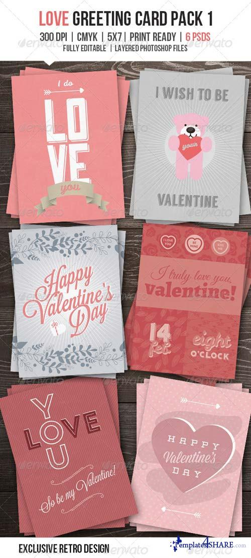 GraphicRiver Love You Greeting Card Pack I