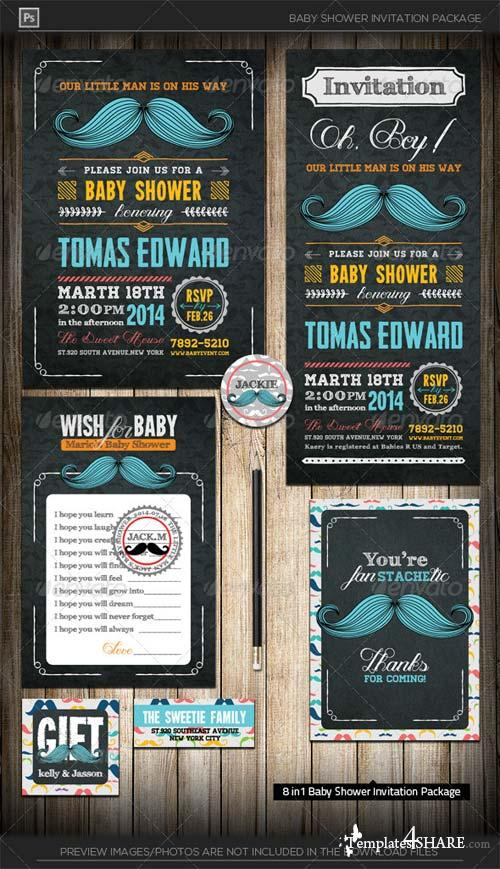GraphicRiver Little Man Mustache Baby Shower Invitation