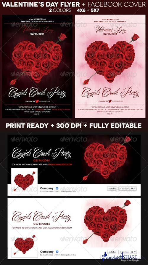 GraphicRiver Rose Heart Valentines Day Flyer